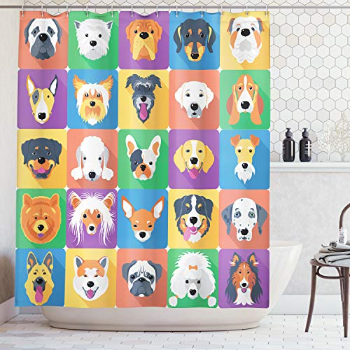 - Ambesonne Dog Lover Decor Shower Curtain, Dog Breeds Profiles Pets Shepherd Terrier Labrador Domestic Animals Illustration, Fabric Bathroom Set with Hooks, 69W X 70L Inches Long, Purple Green