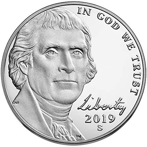 (2019 S Jefferson Nickel 2019 S Jefferson Nickel Proof 5 Cents Deep Cameo Nickel Proof US Mint DCAM)