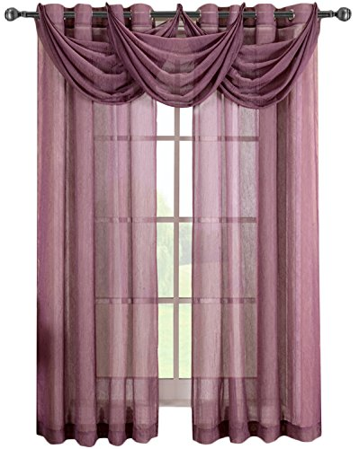 Curtains Eggplant (Luxury Abri Eggplant Grommet Crushed Sheer Curtain, 50x84 inches, by Royal Hotel)