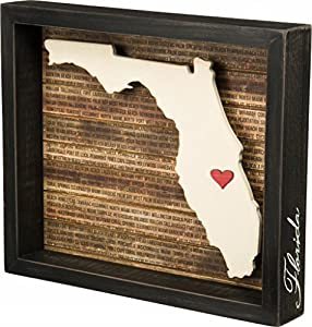 Florida State Shape Box Sign. Start a state themed wall collage with all the U.S. States you've visited or lived in!