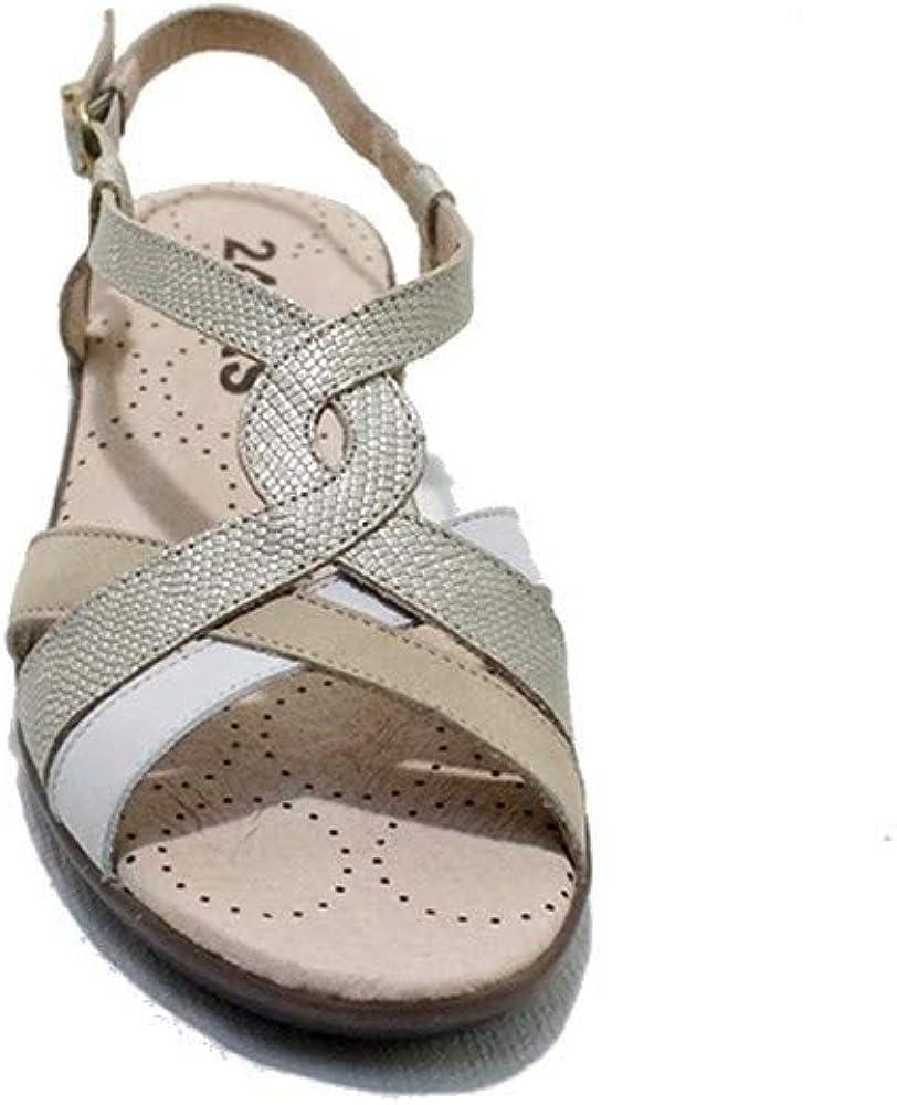24 Horas 22523 - Sandalias de Mujer en Tiras de Piel de Colores Crema, Ocre y Blanco Ultra Ligeras Cierre en Hebilla Beix