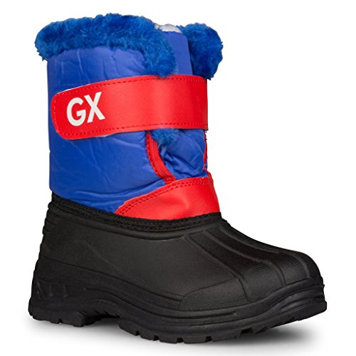 [S603-BLU-5] Boys Insulated Snow Boots: Stay Warm & Dry Easy Close Waterproof, Size 5