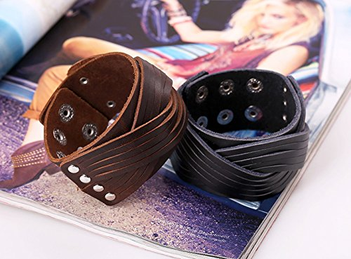 Three Braided hand making Bracelet Wrap Style Punk Unisex Personality Button Adjustable Length Black - Irish Dancing Costumes Uk