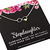 Stepdaughter Gift • from Stepdad Stepmom • Infinite Love Necklace • 925 Sterling Silver • Infinity and Gold Heart Charm • Gifts for Step Daughter