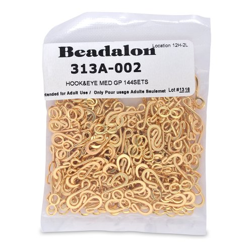 Artistic Wire Beadalon Medium Hook and Eye Clasps, Nickel Free Gold Plate, Set of 144