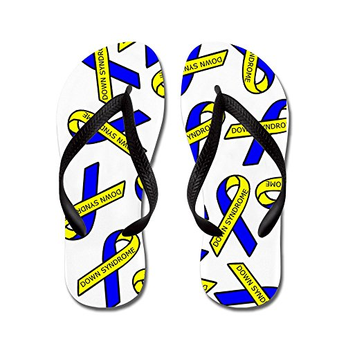 CafePress Down Syndrome Awareness Ribbons - Flip Flops, Funny Thong Sandals, Beach Sandals Black
