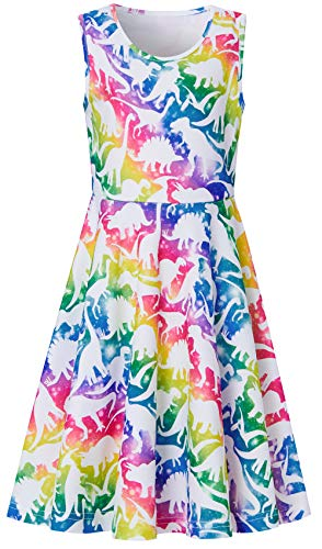 BFUSTYLE Best Dresses for School, Cute Primary School Girl's Stripes Dinosaur Swing Sleeveless Funny Summer Dress for Vacation Holiday Trip -