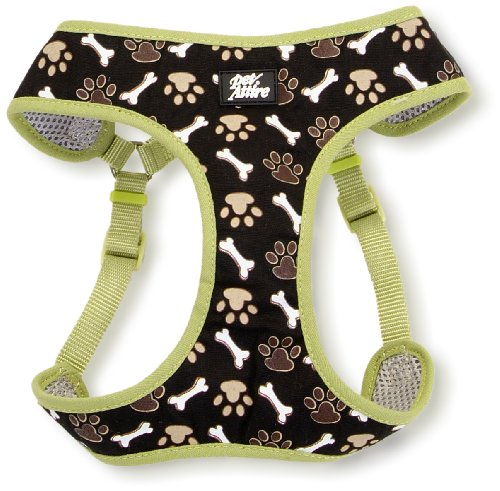 Pet Attire Designer Step-in Harness Brown Paws and Bones, Extra Extra Small, 14 to 16-Inch, My Pet Supplies