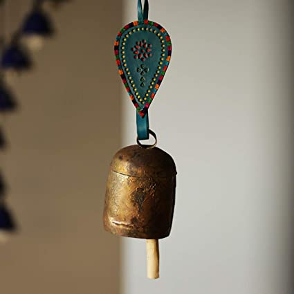 ExclusiveLane Handmade Balcony Decorative Leather Strap Antique Outdoor Hanging Metal Bell Wind Chime (Blue)
