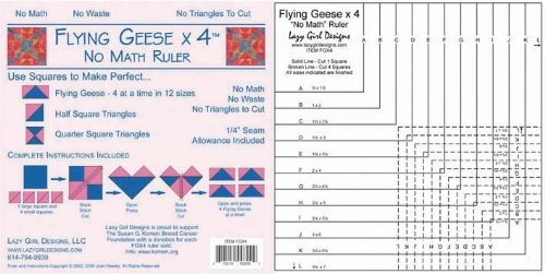 (Lazy Girl Flying Geese X 4 No Math Ruler)