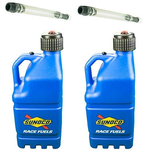 2 Pack Sunoco 5 Gallon Blue Race Utility Jugs and 2 Deluxe Filler Hoses ()