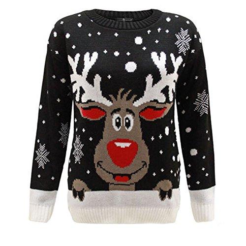 De 1klickglobal Pull Unisexe Femmes Noël Rudolph Red Reindeer Hommes Tricot qx6xpIwCA