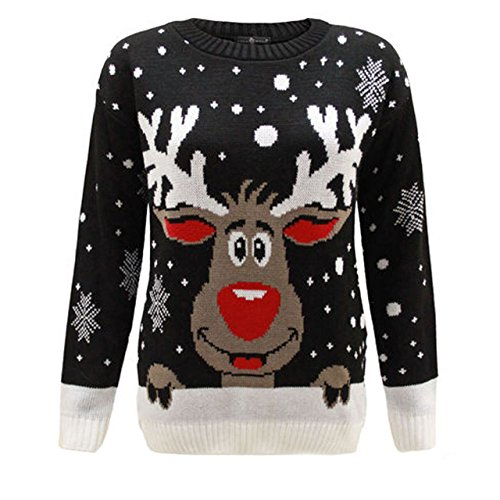 Rudolph Reindeer Femmes De Unisexe Noël Black Tricot 1klickglobal Pull Hommes ftqYvxEYSw