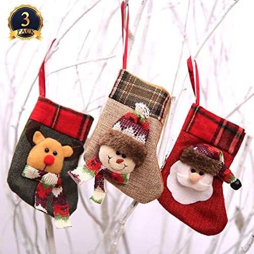 Ginfonr Christmas Stocking 3 Pack Santa Claus Snowman Reindeer, Xmas Eve Home Decorations Mini 3D Plush Faux Fur Cuff Gift Holding Festival Decors Tree Fireplace Ornament Party Accessory ()