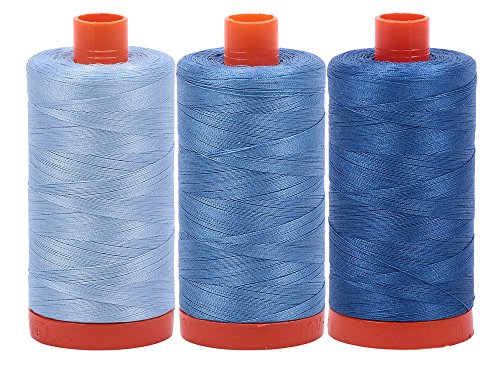 Bundle of Aurifil 50wt Egyptian Cotton Thread, Large 1422 yard Spools, with and without Aurifil Empty Thread Case 12 Spool Capacity (3 Spool Bundles, 2715 2725 - Yard Bundle