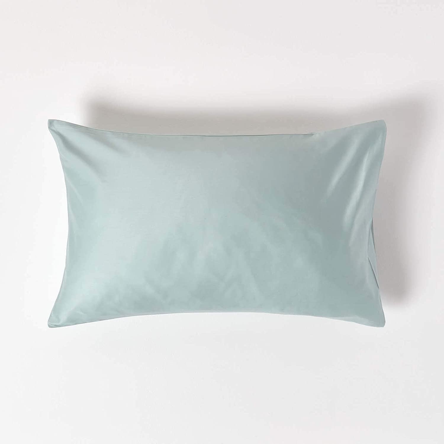 HOMESCAPES Duck Egg Blue Organic Cotton Pillowcase Standard Size 400TC 600 Thread Count Percale Equivalent Housewife Pillow Case
