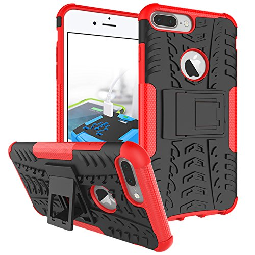 Price comparison product image iPhone 8 Plus Case, iPhone 7 Plus Case, Heavy Duty Protective Cover Dual Layer Hybrid Shockproof Protective Case with kickstand Hard Phone Case Cover for iPhone 7 Plus / 8 Plus [5.5 Inch] Red