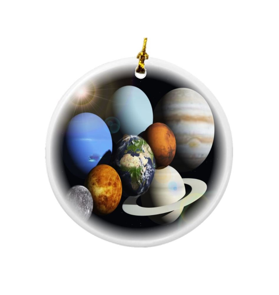 Rikki Knight Solar System Planets Design Round Porcelain Two-Sided Christmas Ornaments