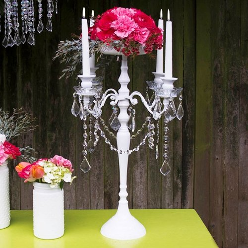 Candelabra with Hanging Acrylic Crystals, Candle Holder, for sale  Delivered anywhere in USA