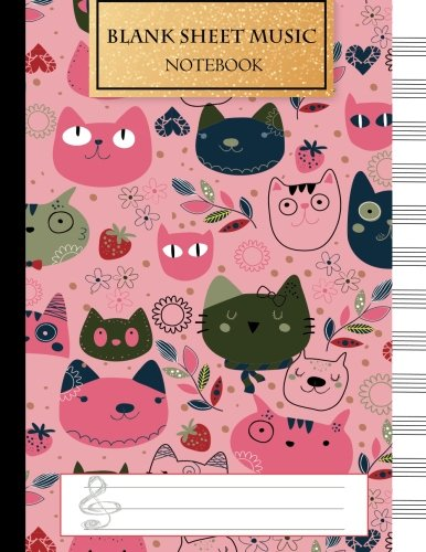 Sheet Music Staff Paper - Blank Music Sheet Notebook: Music Manuscript Paper, Staff Paper, Music Notebook 12 Staves, 8.5 x 11, A4, 100 pages, Pink Cute Cat Journal (Music Composition Books) (Volume 1)
