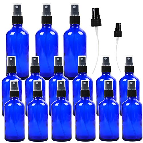 15 Pack Empty Cobalt Blue Glass Spray Bottles, 3 Pack 4oz and 12 Pack 2oz Refillable Containers for Essential Oils, Cleaning Products, Aromatherapy, Durable Black Fine Mist Sprayers
