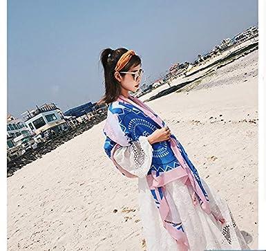 90cm Cebilevin Damen /Übergroesse Modisch Kariert Blumen Pattern Sarong Pareo Strandtuch Wickeltuch Bikini Sonnenschutz Decke Cover-up 180