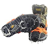 YUEDGE Stainless Steel 12 Spikes Ice Snow Cleat Grips Traction Cleats Crampon, Orange, Large (US Shoe Size Men=7.5-11, Women=8-12)