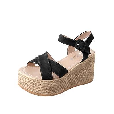 fce96541d13 Lolittas Summer Wedge Sandals Women, Bohemian Beach Black Fluffy ...