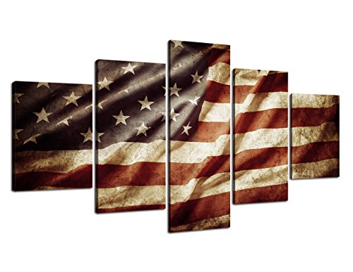 - Canvas Prints Wall Art - Flag of USA/Stars and Stripes Stretched Canvas American Flag Framed Wrap Posters and Prints for Office Bedroom Ready to Hang(60''W x 32''H)