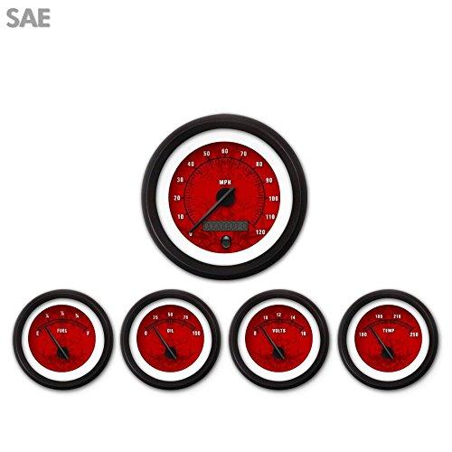 Aurora Instruments 1756 Tribal Red SAE 5-Gauge Set Black Modern Needles, Black Trim Rings, Style Kit Installed
