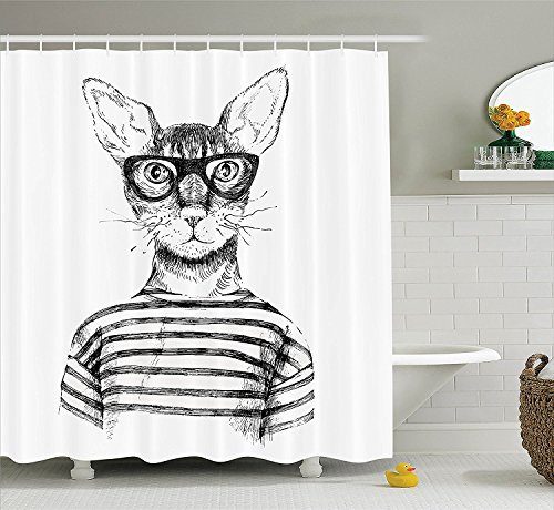 [Cat Lover Decor Shower Curtain Set Hand Drawn Dressed Up Trendy Hipster New Age Cat Fashion Urban Free Spirit Artwork Bathroom Accessories Black] (Animals Dressed Up In Halloween Costumes)