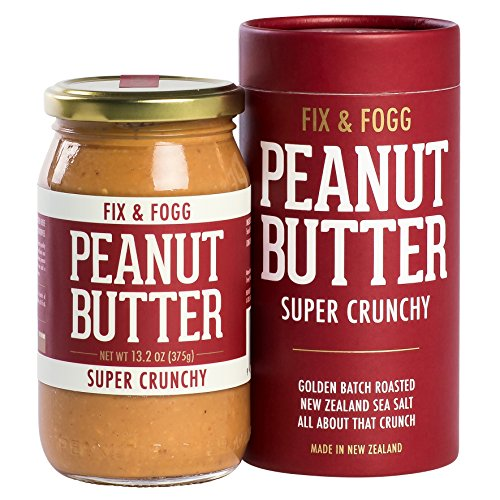All Natural Peanut Butter Cookies (Fix & Fogg Super Crunchy Peanut Butter (13.2 oz) All Natural, Handmade, Vegan, Extra Chunky, Golden Roasted With Glass Jar And Beautifully Designed Cardboard Canister.)