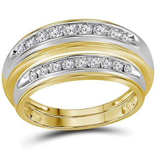 10kt Yellow Gold His & Hers Round Diamond Matching Wedding Band Set 1/2 Cttw (His And Her Diamond Wedding Rings)