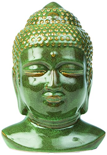 Alfresco 32-1163 Glazed Ceramic Buddha Head, Green