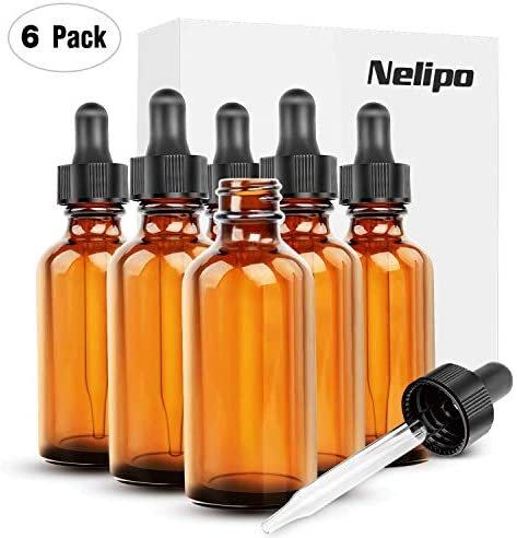 Nelipo 2oz Amber Glass Bottles for Essential Oils with Glass Eye Dropper 6 Pack