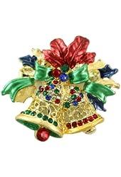 Christmas Red Ribbon Bow Two Jingle Bells Charm Multicolor Rhinestone
