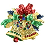 Soulbreezecollection Christmas Red Ribbon Bow Two Jingle Bells Charm Multicolor Rhinestone