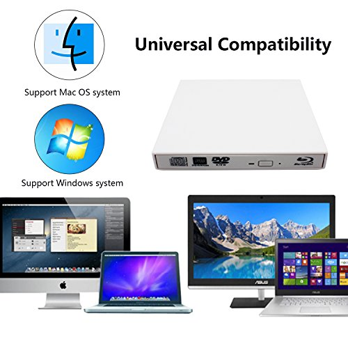 External blu-ray disc drive, USB portable DVD burner,BD-ROM,DVD/CD-RW/ROM Writer/Player,Support xp/win/Linux system related desktop, notebook, etc (white) by tengertang (Image #6)