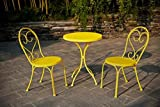 Small Space Scroll 3 Piece Chairs & Table Outdoor Furniture Bistro Set, Yellow, Seats 3