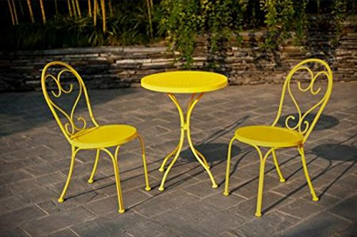Small space scroll 3 piece chairs table outdoor for Outdoor furniture yellow