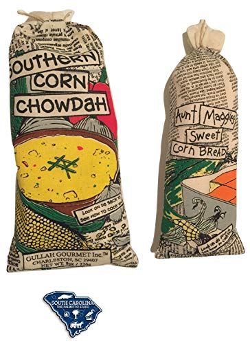Gullah Gourmet Corn Chowder Mix - with Aunt Maggies Sweet Corn Bread - 2 pack Set W/SC Magnet - Enjoy Award Winning Charleston South Carolina Mixtures (2pk)