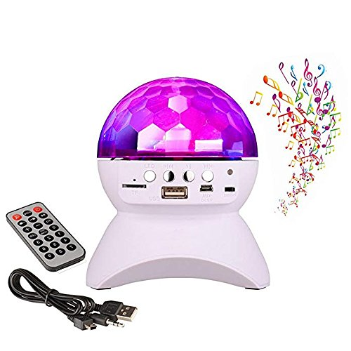 BOOMER VIVI Disco DJ Bluetooth Speakers Rotating LED Strobe Bulb 6 Changing Multi-Color Crystal Stage Light, Bluetooth Wireless Speaker For Party Dance, Ball, halloween, Birthday, Christmas. (White)