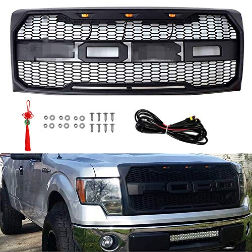 -14 FORD F150 Raptor Style Grill Kits With Amber LED Light and Conversion Letter (Black) ()