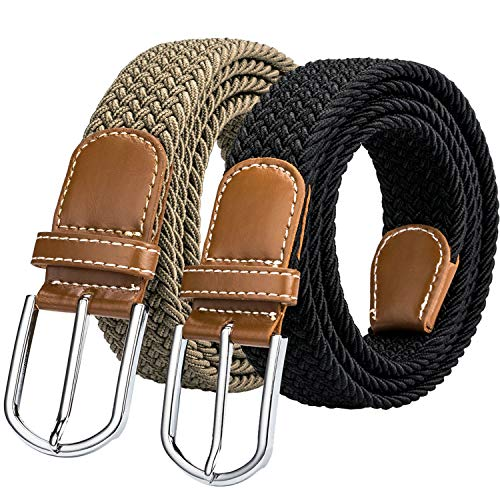 Men's Stretch Braided Belts, Woven Elastic Belt with Silver Metal Buckle and Leather Tipped End