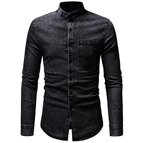 Clearance Sale Men's Denim Shirts vermers Men Autumn Winter Vintage Distressed Solid Long Sleeve T-Shirt Top Blouse(XL, Black) by vermers