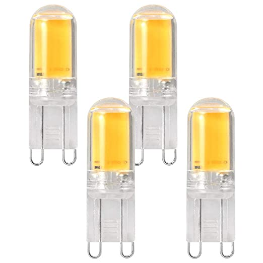 DASKOO - Juego de 4 bombillas LED (casquillo G9, COB, 4 W,