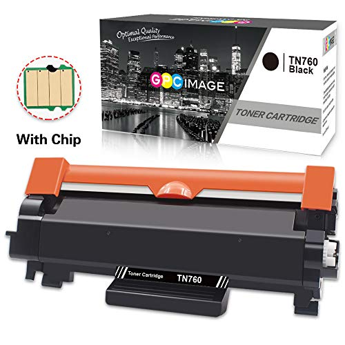 GPC Image (With CHIP) 1 Black TN760 Compatible Toner Cartridge Replacement for Brother TN-760 TN730 for Brother DCPL2550DW HL L2390DW HL-L2370DW HL-L2395DW MFCL2710DW MFC-L2750DW HL-L2350DW printer
