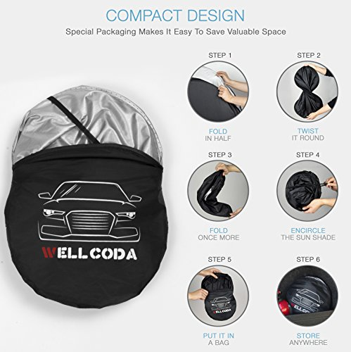 "Car Windshield Sun Shade + Bonus Gift - Heat & Sun Protector, Compact Storage with Strap, Quick & Easy Installation, UV Ray Deflector | Black/Silver Sides (59"" x 28"")"