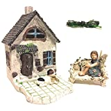 Fairy Garden House Kit with Fairy Lights: House with Patio, Sitting Fairy, Dog, Cat, and Loveseat bench, Indoor or Outdoor 5 piece Deluxe Starter Set
