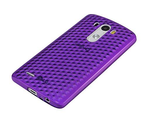 Xcessor Diamond - Flexible TPU Gel Case For LG G3. Purple / Transparent